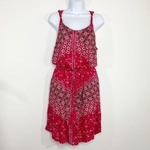 LUCKY BRAND Nora Dress Floral Red Size L